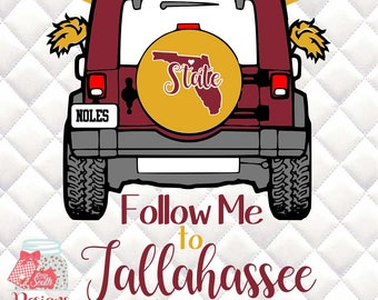 FSU - Florida State Jeep - Follow Me to Tallahassee - Tailgating Jeep SVG, Silhouette studio bundle -  design download