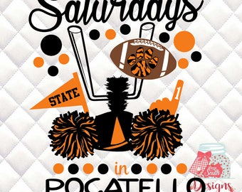 Saturdays in Pocatello - Idaho State -  Tailgating, Gameday - SVG, Silhouette studio bundle - design download