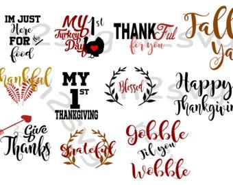 Thanksgiving  svg  Bundle over 11 files  -Cricut- silhouette- digital file -holiday  svg-