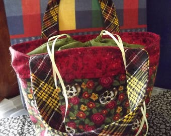 Skulls and Flowers Drawstring Bento Bag Tote