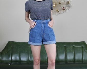 Vintage High Waisted Blue Jean Denim Shorts // 26