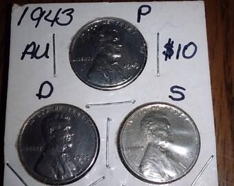 1943 Steel Pennies P,D S