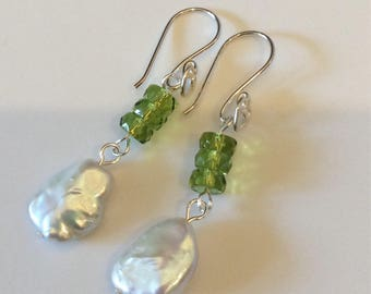 Pearl Earrings, peridot Earrings