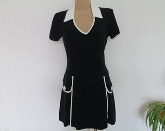 Adorable Vintage Mini Mod dress navywith white piping