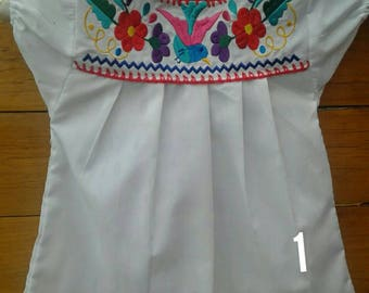 Mexican Embroidered Girl Blouse size 1 - 2 years old