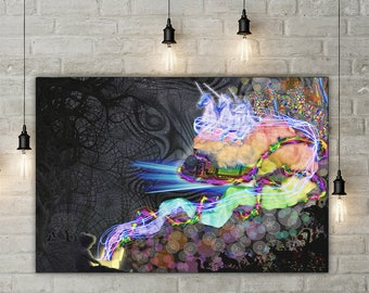 Pandoras Box Gallery Wrapped Large Canvas Wall Hanging- Trippy Rainbow Home Decor- Dark Design- Child and Adult- High Quality Materials