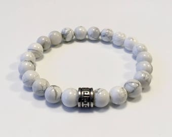 Mens bracelet - Howlite bracelet - White bead bracelet - Howlite beads - Beaded bracelet