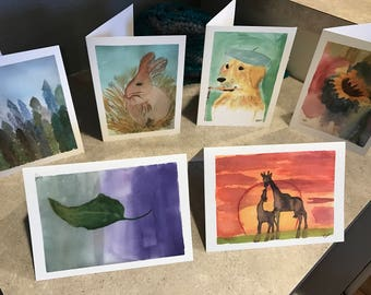 Set of SIX watercolor greeting cards made by 8 year old artist: ANY six cards
