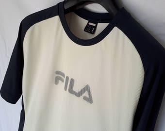 T-shirt FILA 90s blue and white vintage shirt