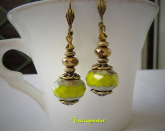 Bohemian earrings yellow olive, faceted beads earrings