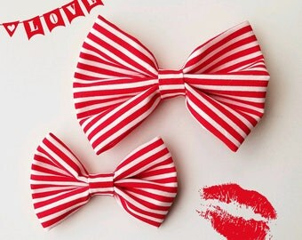 Red and white, pinstripe, Valentine Bow tie, Hair clip