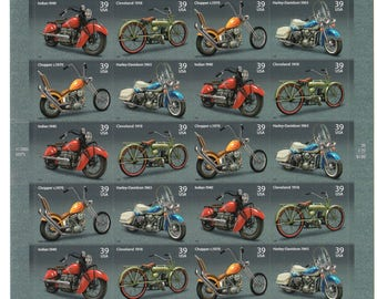 Paul's Motorcycle Shop - In my dreams - 20 Stamp Pane of USPS New Postage Stamps - 4 different Motorcycles - 1918 - 1970