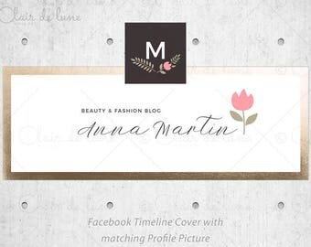Summer Flower: Pre-made Facebook Set, Facebook cover and Profile picture, Facebook Header with flower and faux gold border, Calligraphy