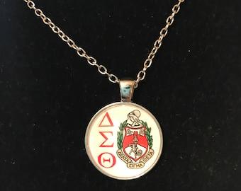 Delta Sigma Theta Round Pendant Necklace