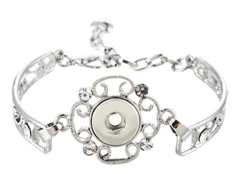 Flower Rhinestone Snap bracelet
