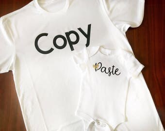 Copy and paste, shirt set, matching shirts, daddy and daughter, gold glitter bow, newborn outfit, coming home outfit, gifts for men