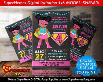 Supergirl Invitation invitations super girl Pink Teal Superheroes Birthday Invitation, African American bat Invite, DIGITAL FILE superhero