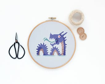 Loch Ness - Scotland lake monster design- Modern plant cross stitch pattern PDF - Instant download