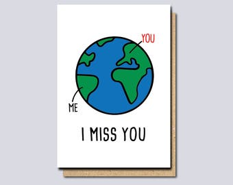 Funny Miss You Card, I Miss You Card, long distance card, card for boyfriend, card for girlfriend, thinking of you card, valentines day card