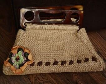 Beige Handbag,Vintage Handle Bag,Retro Woven Bag,Vintage Woven Handbag,Beaded Flower Bag,Retro Handle Bag,Vintage Boho Handbag,Gift For Her