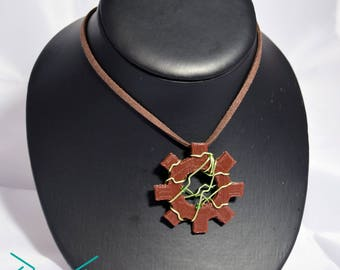 Beaded Wire Wrapped Cog Necklace