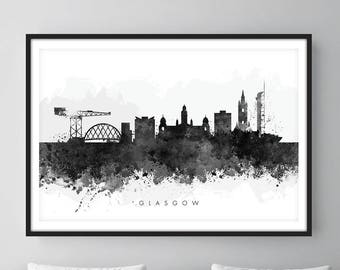 Glasgow Skyline, Cityscape Art Print, Wall Art, Watercolor, Watercolour Art Decor [SWGLA05]