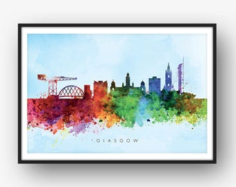 Glasgow Skyline, Cityscape Art Print, Wall Art, Watercolor, Watercolour Art Decor [SWGLA03]