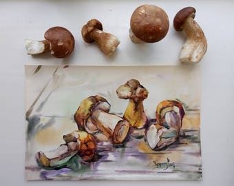 ORIGINAL Watercolor Painting,White mushrooms,botanical illustration,nature Art,decor for kitchen,Home Decor,mushrooms botany,autumn painting