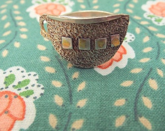 Silver teacup ring with 24k gold accent decoration