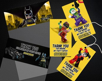 Lego Batman Birthday Favor Tags, Lego Batman Thank You Tags, Lego Batman Party Tags, Lego Batman Tags, Lego Batman, Lego Batman Printable
