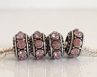 1 pc Pink Rhinestone charms beads size 1.2 mm hole 0, 45 mm for all European brands like Pandora Trollbeads bracelet Chamilia Simstars