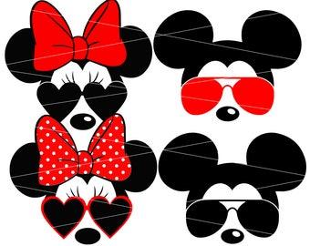 Minnie Mouse svg Minnie sunglasses svg Disney svg Mickey mouse mickey sunglasses svg Cricut Silhouette Cutting files svg files sun svg cameo