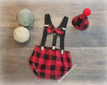 Lumberjack First birthday Outfit, 1st Birthday boy Outfit, Plaid Birthday Outfit, Lumberjack Diaper Cover, Bowtie & Party Hat, Suspender