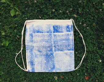 Hand printed draw string backpack