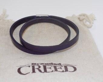 Double wrap narrow leather bracelet, multi-wrap leather bracelet, leather layering bracelet, women's leather bracelet, mens leather bracelet