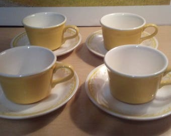 4 sets California Pottery Cups and Saucers minty