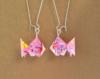 Origami fish Earrings- Origami Jewelry-Origami Earrings-Paper Jewelry-washi Paper -Dange Earrings-Christmas Gift