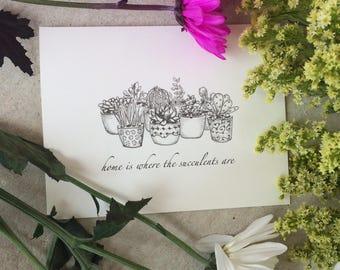 Succulent Card, Succulent Housewarming Card, New Home Card, Cactus Greeting Card