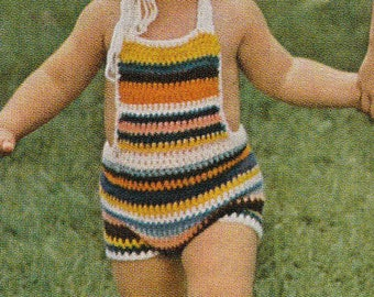 Crochet Striped sunsuit & hat set, romper sunsuit, baby crochet, baby hat,size 1-2-3 year, vintage crochet , pdf pattern, instant download