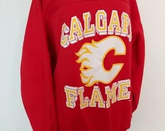 Vintage Calgary Flames 1990 Sweatshirt/ Retro Calgary Flames NHL Hockey Sports Memorabilia