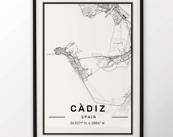 Cadiz City Map Print Modern Contemporary poster in sizes 50x70 fit for Ikea frame 19.5 x 27.5 All city available London, New York Paris