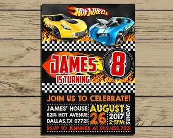 Hot Wheels Invitation - Hot Wheels Birthday Party Invite - Hot Wheels Chalkboard Invitation - Racing - Cars - YOU PRINT