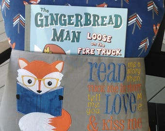 Fox reading pillow