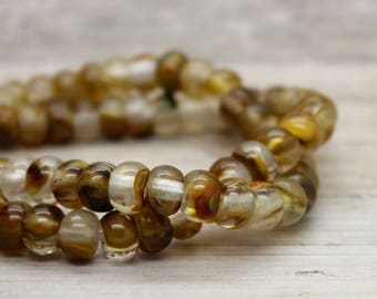 "Wood Quartz Rondelle Gemstone Beads 8"" strand (5mm x 8mm beads, 2.5 mm hole)"