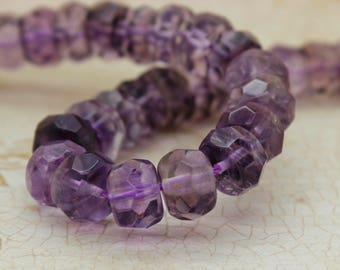 Amethyst Rondelle Faceted Gemstone Beads