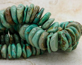 Natural Turquoise Beads, Rough Flat Nugget Chip Turquoise Beads (Assorted Size) - Full Strand