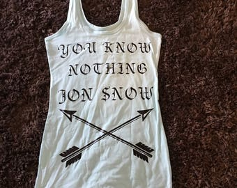 RTS/ Game of Thrones/ You know nothing jon snow/ Tank Top size Small