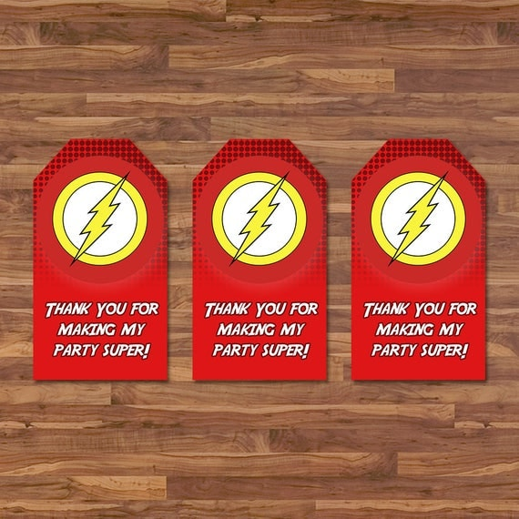 The Flash Party Tags - Flash Water Favor Tags - Red & Yellow Logo - Flash Birthday - Flash Printables - Flash Goody Bag Favor Tags