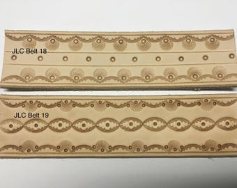 Handtooled leather belt (Mahogany)