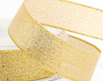 Gorgeous Sparkly Gold Lurex Ribbon 15mm Wide x 2 Metres - Card Making Sewing Craft